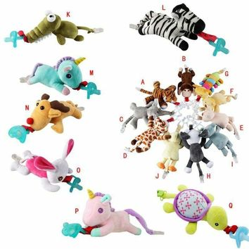 Infant Baby Pacifier Holder Hanging Removable Plush Kids Animal Doll Toy Soother