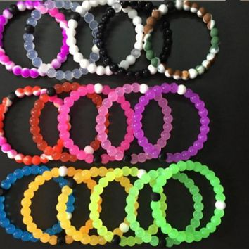 2017 Best selling lokai bracelet 10pcs fashion shark Lokai silicone beads bracelets for men and women 4 size 16 colors