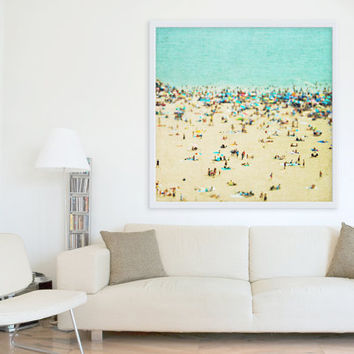 Large Art // Beach Photography // Aerial beach Photography // Turquoise Teal Print // Coney Island Beach // Beach People