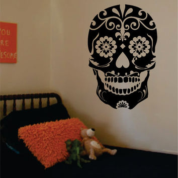 Sugar Skull Version 2 Decal Sticker Wall Vinyl Day of the Dead