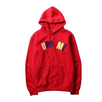 Supreme autumn and winter models embroidered color letter hooded pullover sweater red