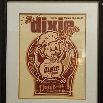 Vintage Dixie Piggie Drive In Framed Print By Joe Giannakopoulos