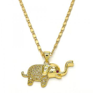 Gold Layered 04.199.0024.18 Fancy Necklace, Elephant Design, with White and Ruby Micro Pave, Polished Finish, Golden Tone