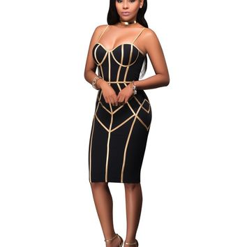 Misstyle Female Black and Gold Strap Zipper Bandage Keen-length Dress Women Sexy Sleeveless Bodycon Club Wear Casual Vestidos