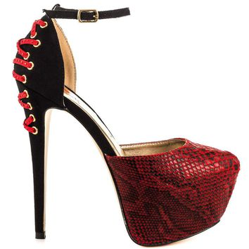 Luichiny Mary lyn Red Snake Pointy Toe High Heel Pump Shoe