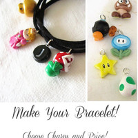 Super Mario Bros Bracelet, Custom Charm Bracelet, Choose Pendants and Price