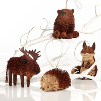 Martha Stewart Collection Set of 4 Woodland Buri Animal Ornaments