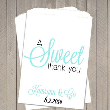 10% OFF Tiffany Blue Thank You Wedding Favor Bags ~  Wedding Candy Buffet Bags, Candy Bags, Treat Bags, Candy Bar Buffet Bag, Paper Bags