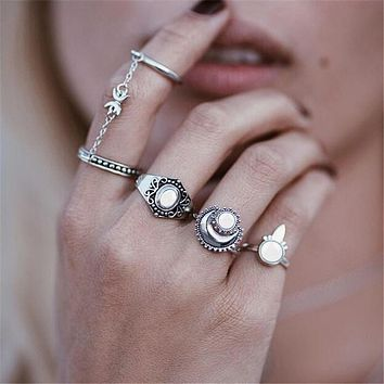 Boho Beach Style 5pcs/Set Flower Tibetan Silver Gold Moon Midi Ring Sets for Women Knuckle brinco Chain Mittens Rings Gifts