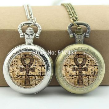 Egyptian Ankh Pocket Watch Eternal Life Symbol Jewelry Locket necklace Antique Pocket Watch Necklace