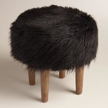 Black Flokati Stool