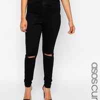 ASOS CURVE Ridley Skinny Jean in Clean Black with Busted Knee
