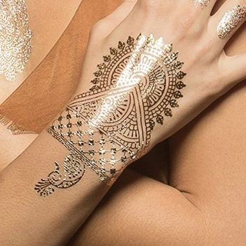 Amazon.com: Hand Metallic Jewelry Temporary Tattoos with Matching Gold Rings for Women