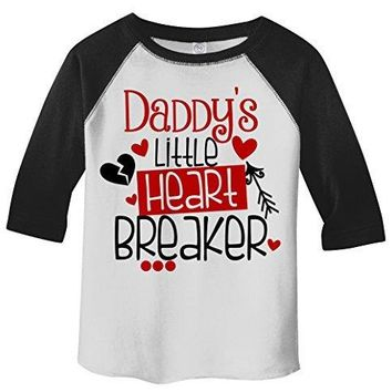 Shirts By Sarah Toddler Daddy's Little Heart Breaker Kids Funny Valentines Day 3/4 Sleeve T-Shirt
