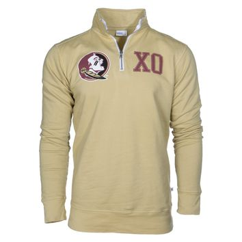 Official NCAA Florida State University Seminoles FSU Noles	Women's Boyfriend-Fit Fleece 1/4 Zip Up Full Sleeve O-Neck Stylish Premium Sweatshirt