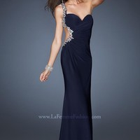 Gigi 18783 Navy One Shoulder Dress