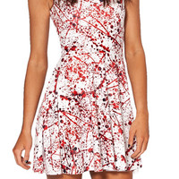 New Spring Summer Style Fashion All-match Casual Easiness Vestidos Blood Splatter Skater Women Dresses Plus Size X-122