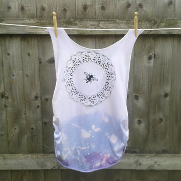 Lavender Dip Dye Tank with Bee Print and Crochet Detail - Hippie, Boho, Rocker, Grunge