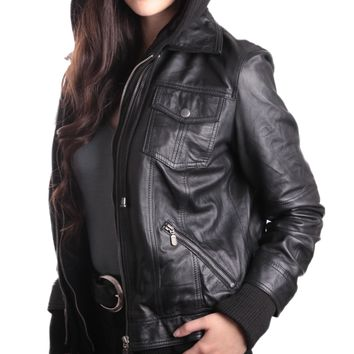 Hooded Bomber Womens Leather Jacket - Super Sale