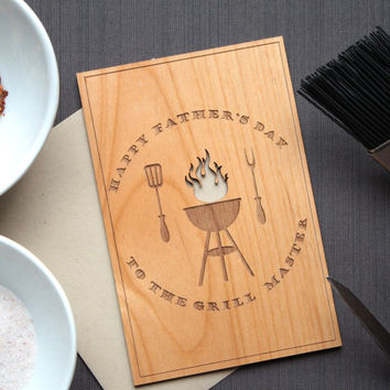 Wooden Father's Day Card with Grill and Utensils - Dad Grill Master
