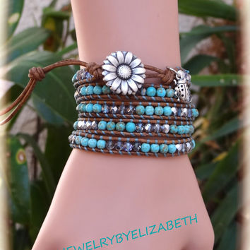 Handcrafted Daisy And Turquoise Leather Wrap Bracelet, Beaded Leather Wrap.