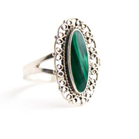Vintage Sterling Silver Malachite Ring - Size 7 1/2  Filigree Green Semi Precious Stone Jewelry / Oblong Oval