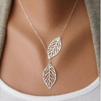 Gold And Sliver Two Leaf Pendants Necklace Chain