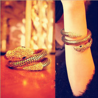 Retro Punk Diamond Fashion Multi-Layer Full Of Diamond Snake- Wide Exaggerated Female Bracelet