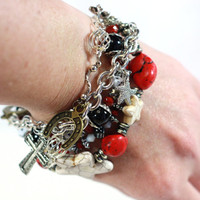 Bless my Lucky Stars Bracelet / One of a Kind / Red White and Black Charm and Layered Bracelet All in One