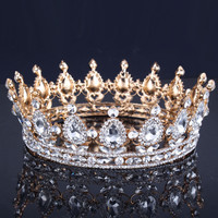 Luxury Vantage Gold Wedding Crown Alloy Bridal Tiara Baroque Queen King Crown 18K gold plated rhinestone tiara crown