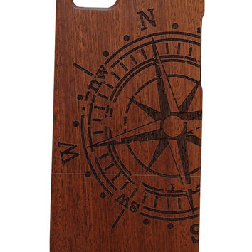 Compass print Iphone 5 /5s/ 6 wooden engraved bamboo phone case cover