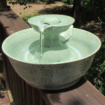 Ceramic Cat Drinking Fountain, Indoor Pet Water Feature, Handmade Wheel Thrown Pottery, Soft Aqua Glaze