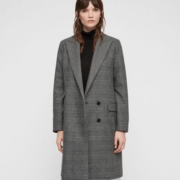 ALLSAINTS US: Womens Paityn Check Coat (pale_grey)