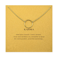 Hot Sale large smooth karma necklace gold plated Pendant necklace Clavicle Chains Fashion Statement Necklace Women Jewelry