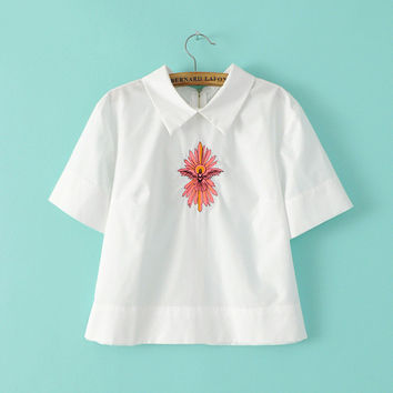 Summer Korean Women's Fashion Embroidery Short Sleeve Shirt [6513970055]