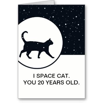 Birthday age joke space cat greeting card