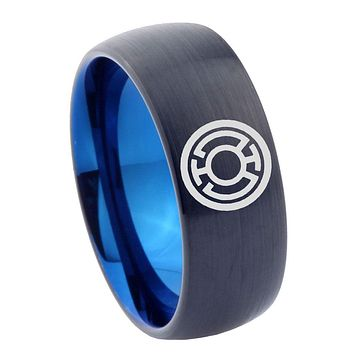 8mm Blue Lantern Dome Tungsten Carbide Blue Men's Wedding Ring