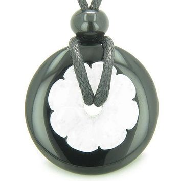 Double Lucky Amulet Yin Yang Donuts Flower Onyx White Jade Protection Healing Pendant Necklace