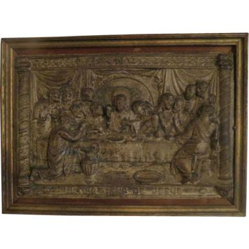 Antique Religious Greek Icon Hand Made hammered Metal The Last Supper