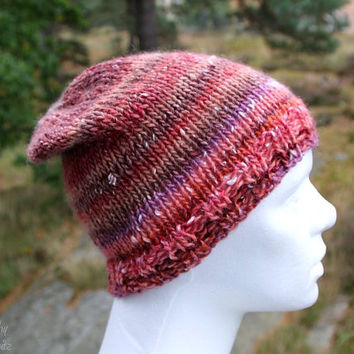 Warm slouchy hat - handknit from wool and silk blend yarn - slouchy beanie, perfet holoday gift for him or her