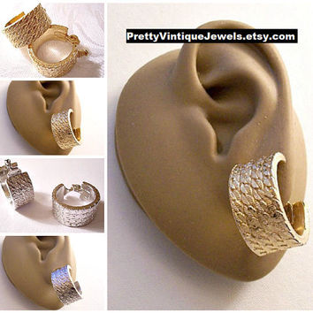 Monet Chain Link Hoops Clip On Earrings Gold or Silver Tone Vintage Extra Wide Round Thick Band Round Dangles