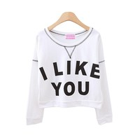 I LIKE YOU Printed Casual Cropped Sweatshirt