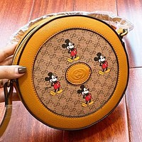 GUCCI New fashion more letter mouse print round shoulder bag crossbody bag