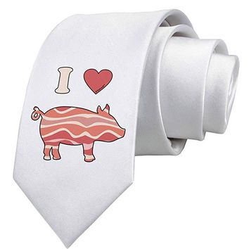 I Heart My Bacon Pig Silhouette Printed White Necktie by TooLoud