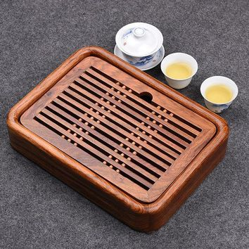 DCCKJG2 Luxury Small Kung Fu Tea tea set with water tray Solid Rosewood tea tray traditional Chinese tea tray wood 27*20cm