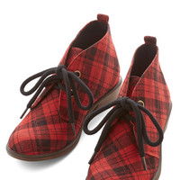 ModCloth Tour Date Bootie in Red Plaid