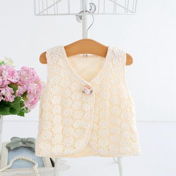 2018 spring summer baby vest coat lovely baby girl lace vest flower pattern children vest tops newborn clothes giochi bambini