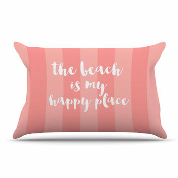 "Sylvia Cook ""Beach is My Happy Place - Coral"" Pink Typography Pillow Sham"