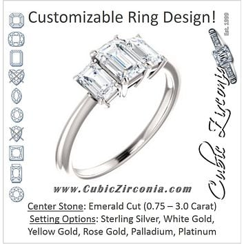 Cubic Zirconia Engagement Ring- The Andrea (Customizable Emerald Cut 3-stone with Dual Emerald Cut Accents)