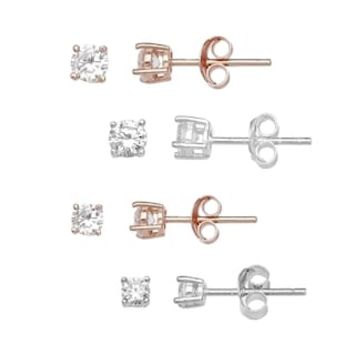 PRIMROSE Two Tone Sterling Silver Cubic Zirconia Stud Earrings 4-Pair Set | null